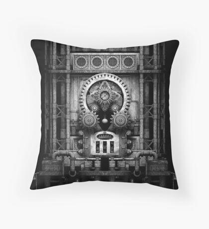 Infernal Steampunk Vintage Machine #3 Monochrome Throw Pillow