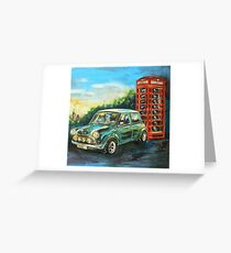 Mini Cooper with red telephone box Greeting Card