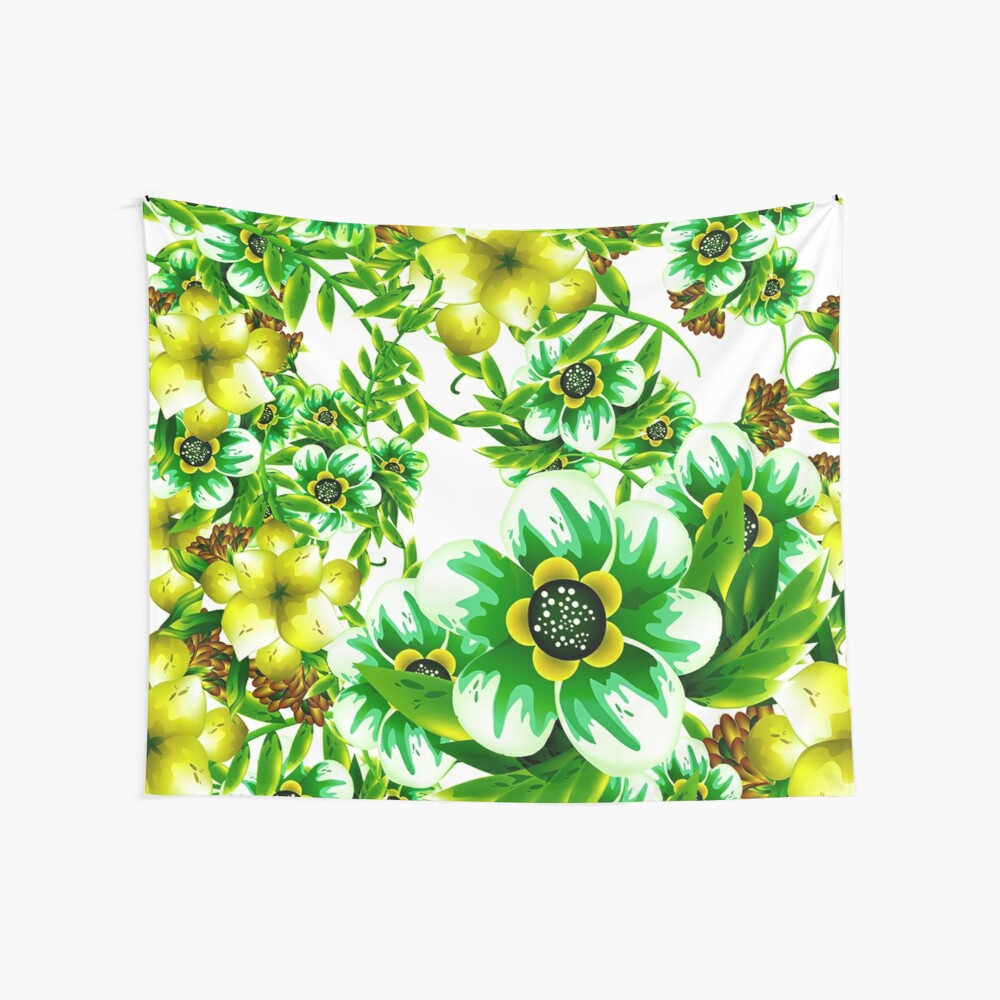 Pretty Yellow and Green Irish Spring Flowers Wall Tapestry