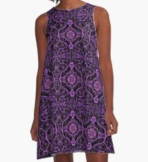 Purple Black Damask Mandala Arabesque Bohemian Pattern A-Line Dress