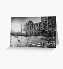 Amsterdam: Outside the Rijksmuseum at dawn (text version) Greeting Card