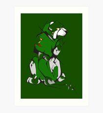 Green Voltron Lion Cubist Art Print