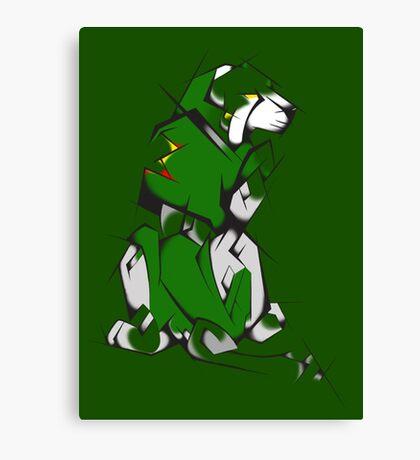 Green Voltron Lion Cubist Canvas Print