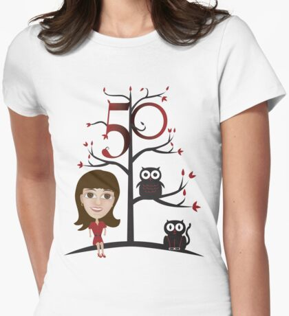 Female 50th Shirt - with Tree and Animals T-Shirt