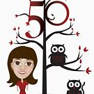 Female 50th Shirt - with Tree and Animals by Shannon Kennedy