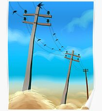 Electric post in a rural scene	 Poster