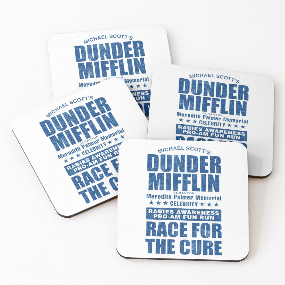 Dunder Mifflin Rabies Awareness Race for the Cure Coasters (Set of 4)