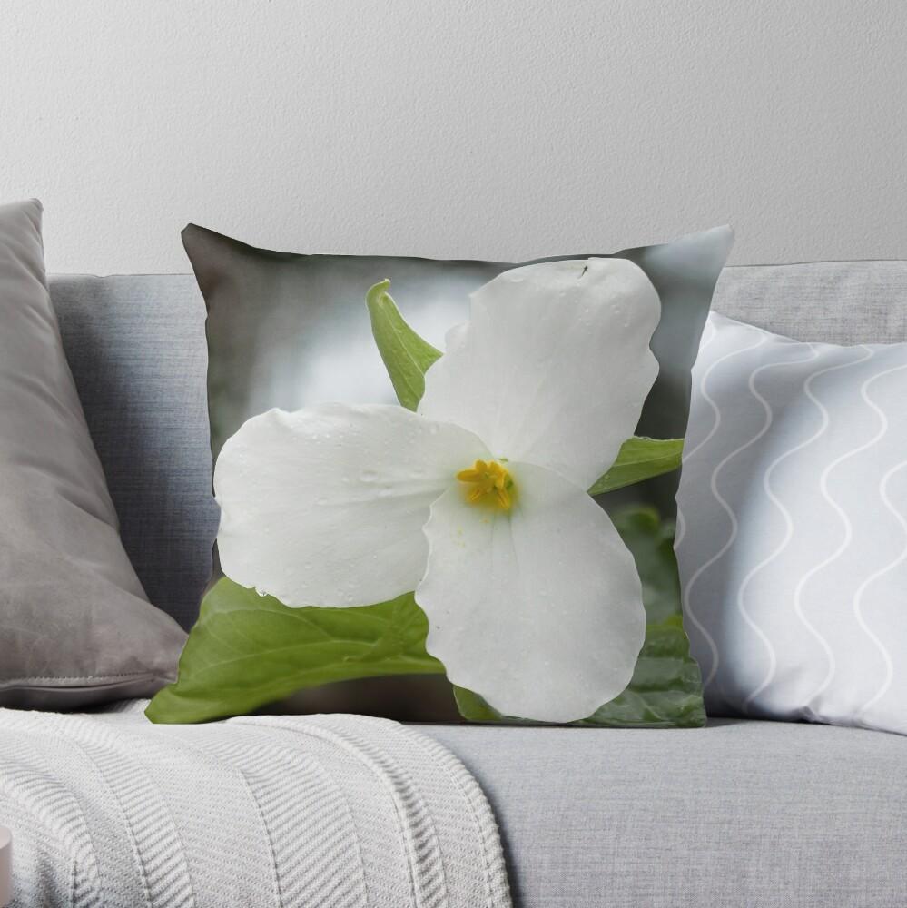Trillium Flower Photo Square  Throw Pillow