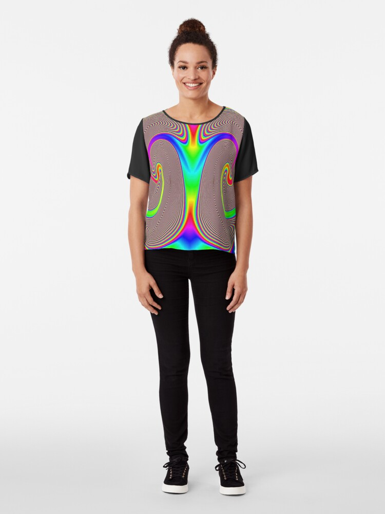 Alternate view of #Creativity, #abstract, #psychedelic, #illustration, decoration, design, art, proportion, rainbow, shape, funky, vortex, color image Chiffon Top