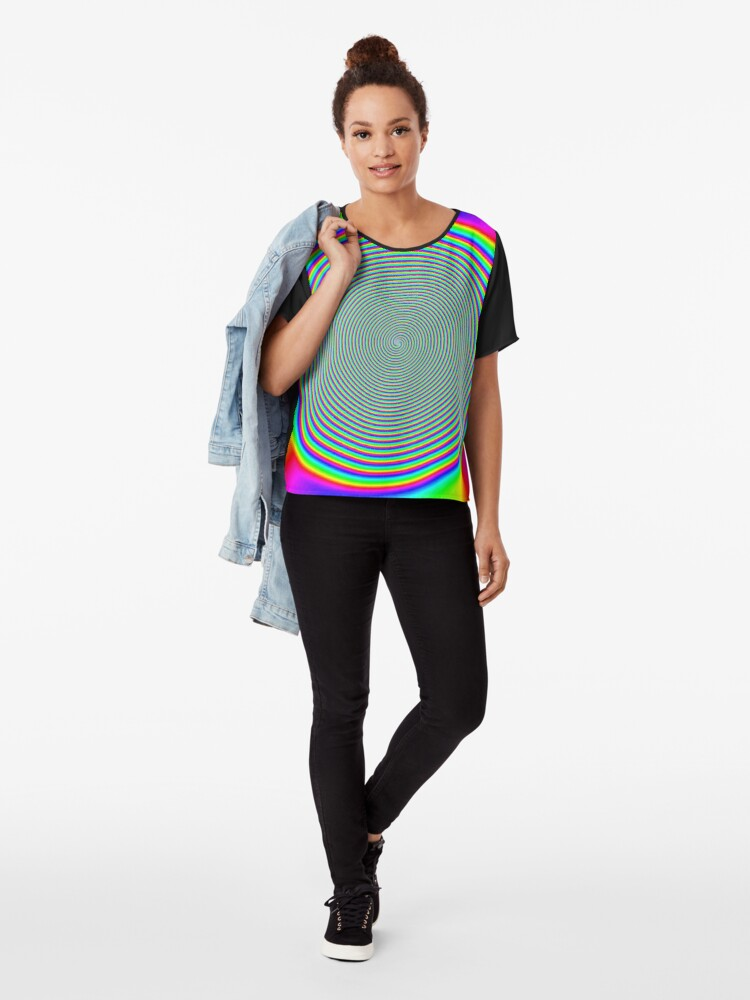 Alternate view of #Rainbow, #creativity, #prism, #bright, abstract, nature, design, eyesight, color image, multi colored Chiffon Top
