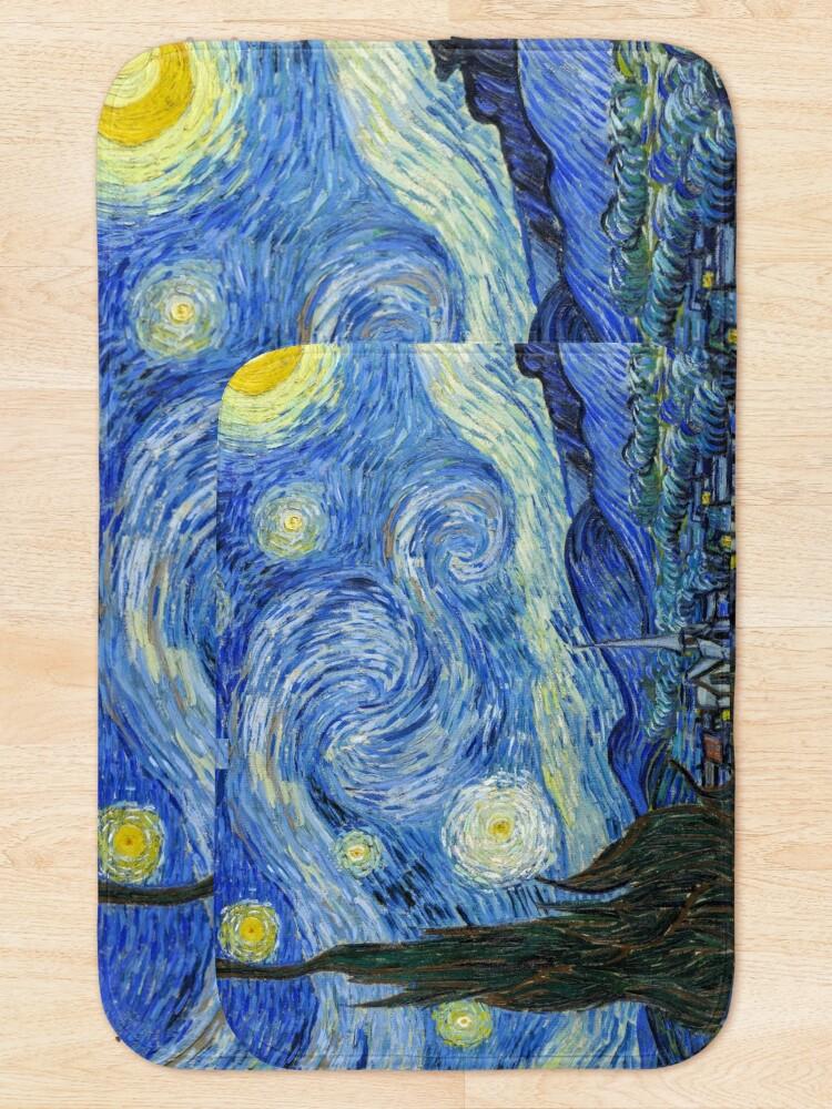 Alternate view of The Starry Night, Vincent van Gogh, 1889   Ultra High Resolution Bath Mat