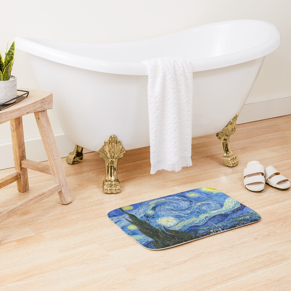 The Starry Night, Vincent van Gogh, 1889   Ultra High Resolution Bath Mat