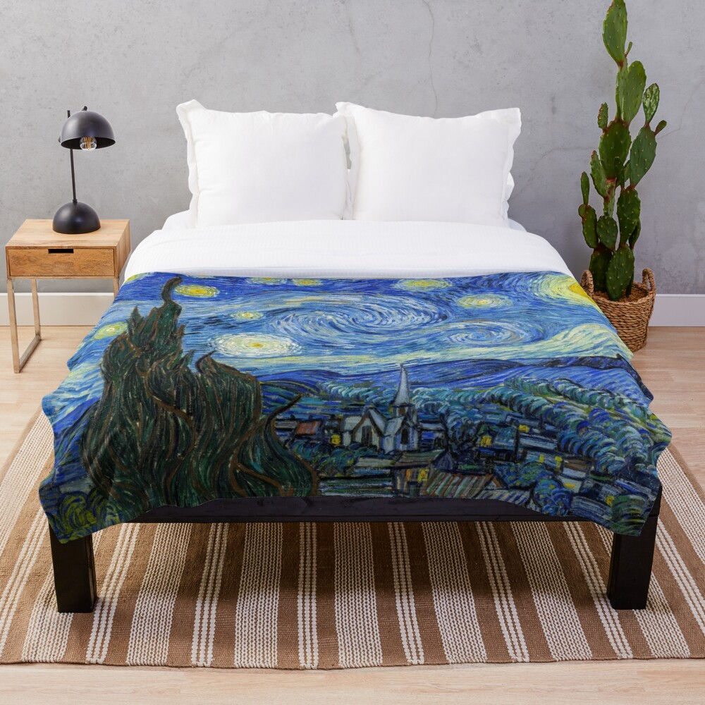 The Starry Night, Vincent van Gogh, 1889 | Ultra High Resolution Throw Blanket