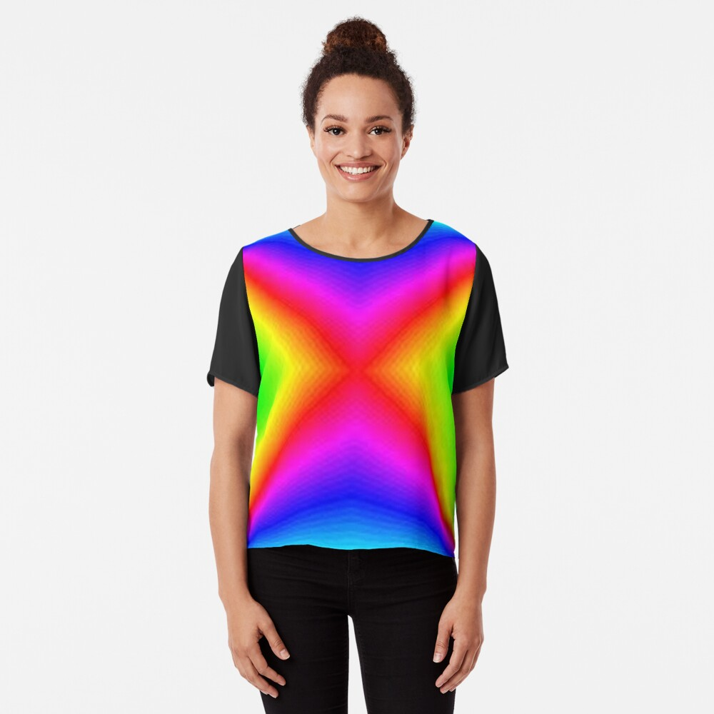 #bright, #prism, #creativity, #futuristic, psychedelic, art, rainbow, vortex, spectrum, abstract, sparkling, color image Chiffon Top