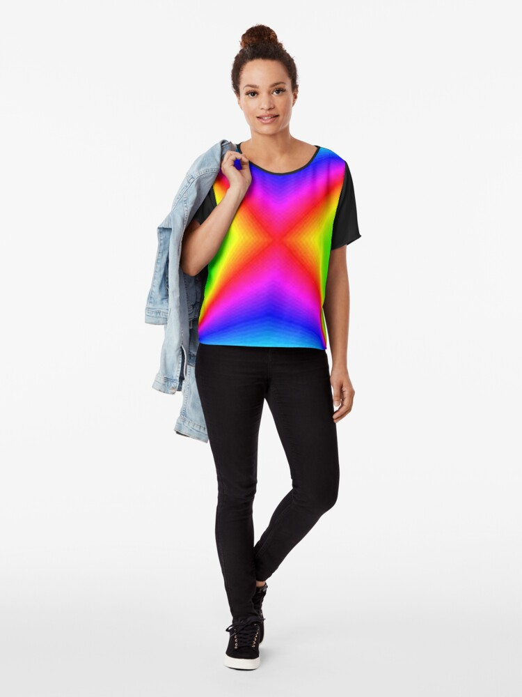 Alternate view of #bright, #prism, #creativity, #futuristic, psychedelic, art, rainbow, vortex, spectrum, abstract, sparkling, color image Chiffon Top