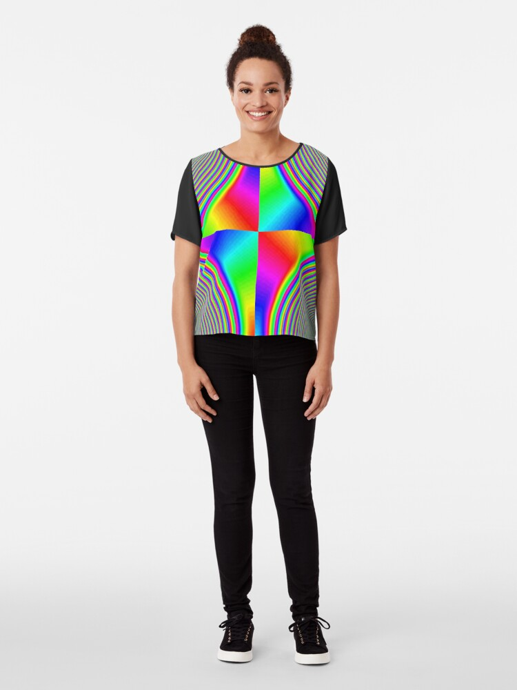 Alternate view of #Creativity, #rainbow, #bright, #prism, design, abstract, psychedelic, color image, multi colored Chiffon Top