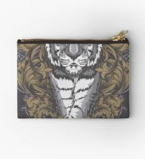 Tiger with Floral Art Deco Zipper Pouch