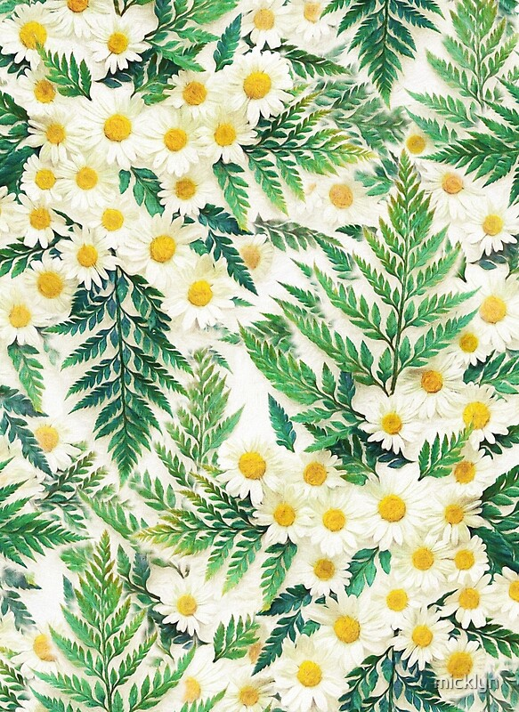 'Textured Vintage Daisy and Fern Pattern' by micklyn
