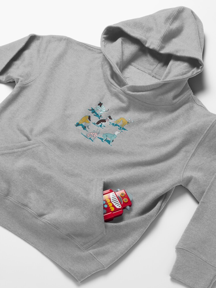 Alternate view of Greyhounds dogwalk // turquoise background Kids Pullover Hoodie