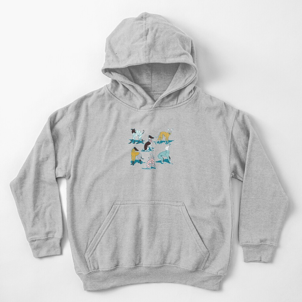Greyhounds dogwalk // turquoise background Kids Pullover Hoodie