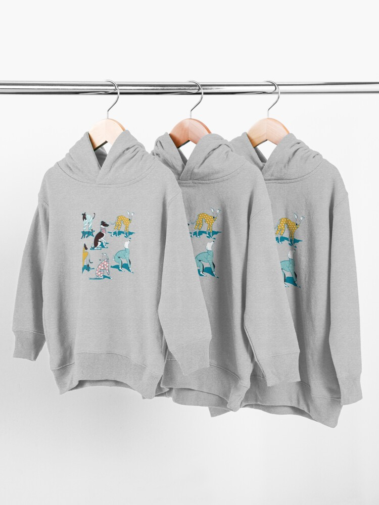 Alternate view of Greyhounds dogwalk // turquoise background Toddler Pullover Hoodie