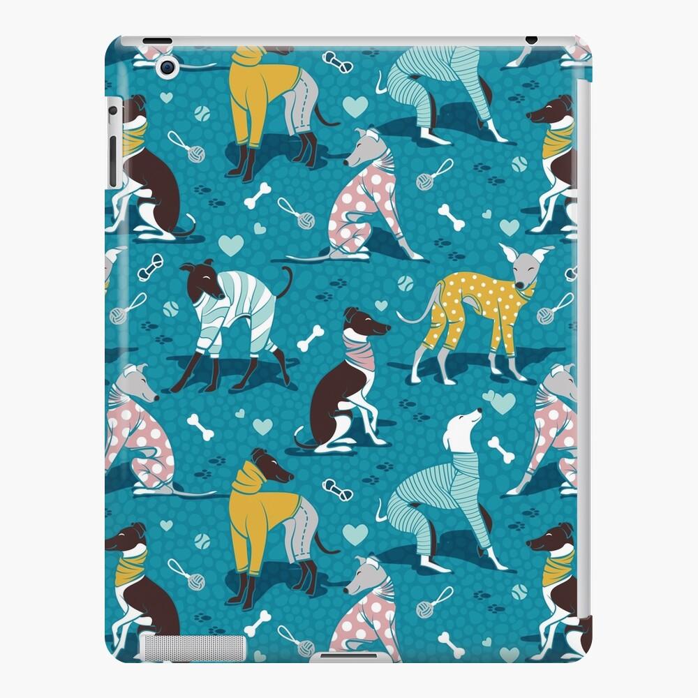 Greyhounds dogwalk // turquoise background iPad Case & Skin