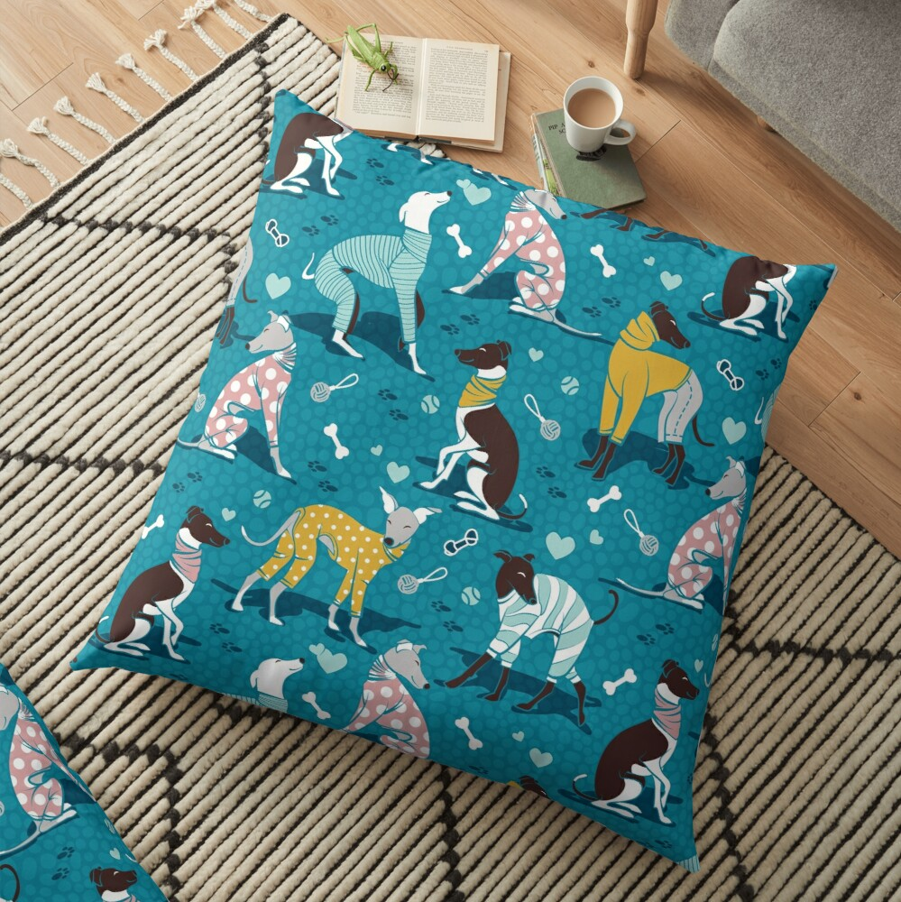Greyhounds dogwalk // turquoise background Floor Pillow