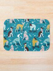 Alfombra de baño Greyhounds dogwalk // fondo turquesa