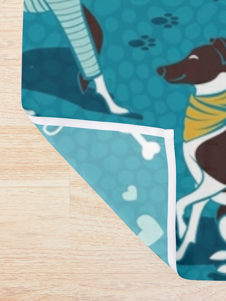 Alternate view of Greyhounds dogwalk // turquoise background Shower Curtain