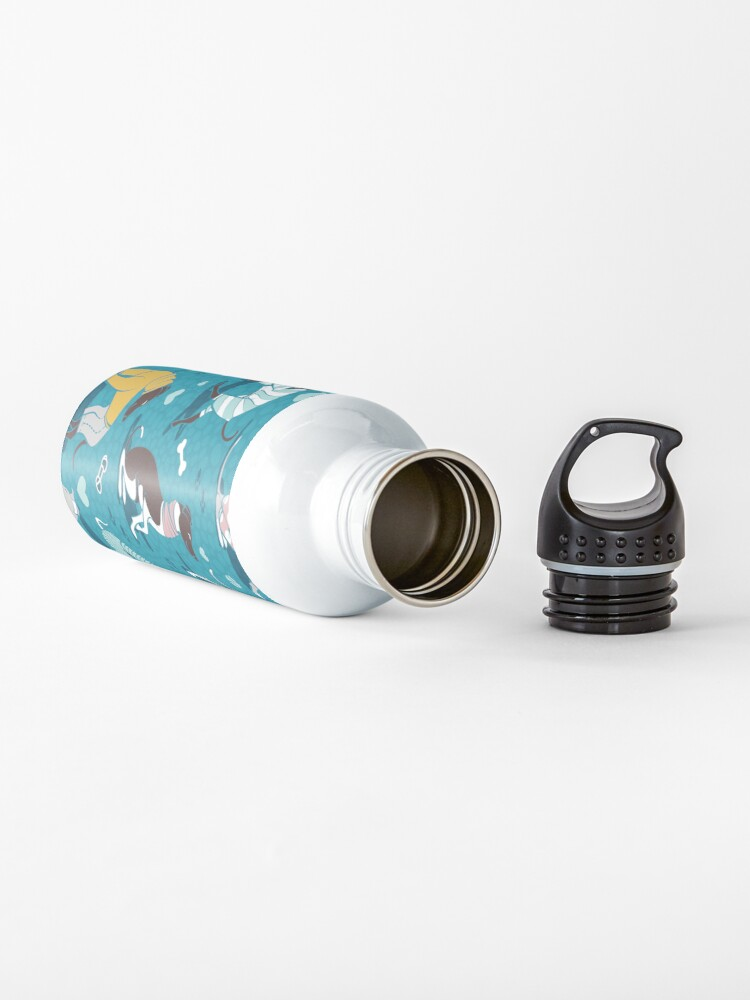 Alternate view of Greyhounds dogwalk // turquoise background Water Bottle