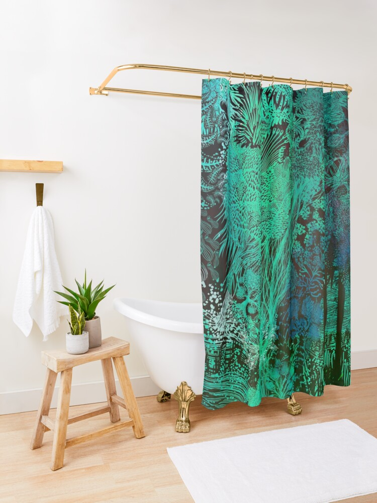 Alternate view of Turquoise Jungle Shower Curtain