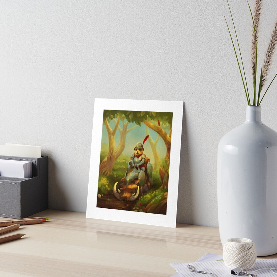 The Knight with No Worries | Digital Illustration Art Board Print