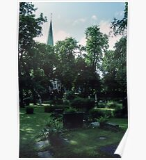 Across Bishop's cemetary to Cathedral Nidaros Cathedral Trondheim Norway 19840622 0032 Poster