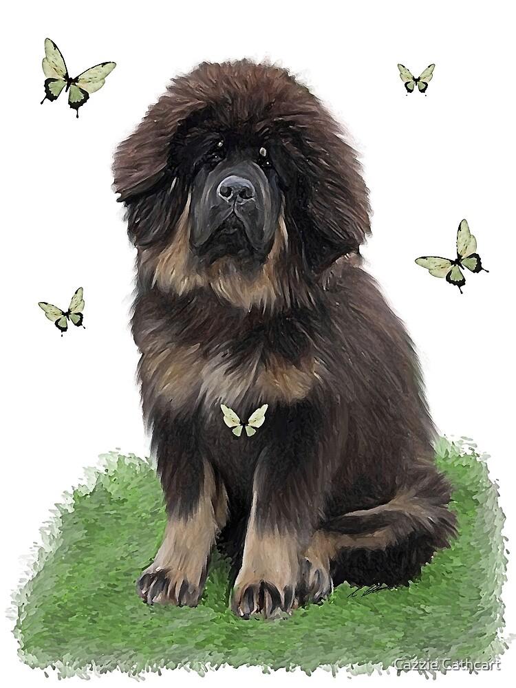 Tibetan Mastiff & butterflies by Cazzie Cathcart