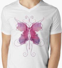 Rose Butterfly Mens V-Neck T-Shirt