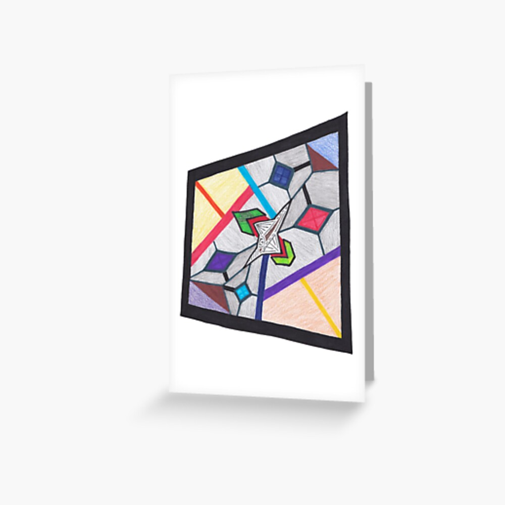 Merch #8 -- Glass Stained Abstract Pane. Greeting Card