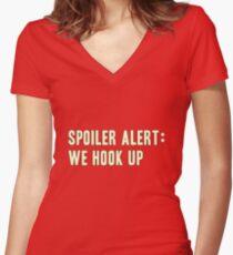 Spoiler Alert: We Hook Up (light lettering) Women's Fitted V-Neck T-Shirt