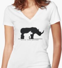 Save The Rhino (White Background) Women's Fitted V-Neck T-Shirt