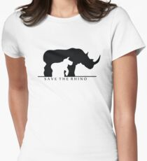 Save The Rhino (White Background) Women's Fitted T-Shirt