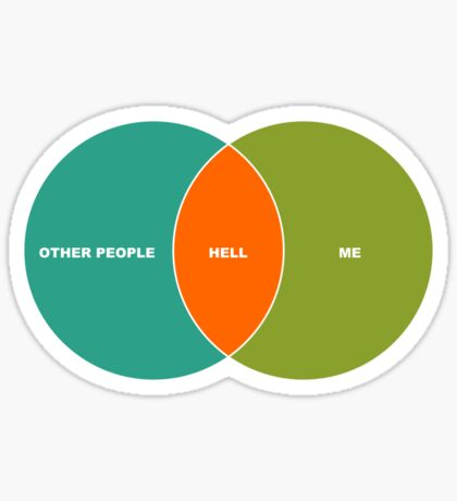 Hell is Other People - Venn Diagram Sticker