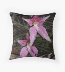 Cowslip Orchid (Caladenia flava) x  Pink Fairy Orchid (Caladenia latifolia)  Throw Pillow