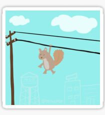 Squirrel On A Wire Glossy Sticker