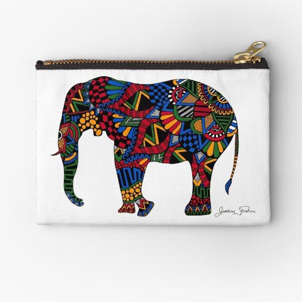 African Elephant Zentangle Zipper Pouch
