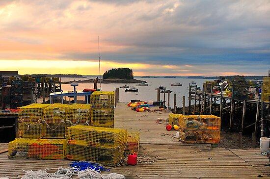 Pier, Sunset, Jonesport, Maine by fauselr