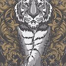 Tiger with Floral Art Deco by Chocodole