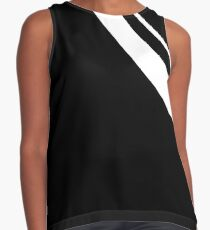 Curved Black and White Pattern Sleeveless Top