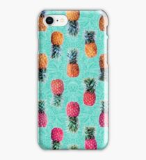 From Pineapple to Pink - tropical doodle pattern on mint iPhone Case/Skin