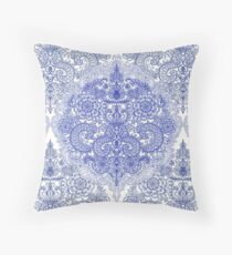 Happy Place Doodle in Cornflower Blue, White & Grey Throw Pillow