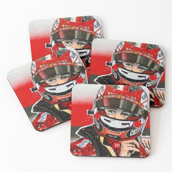 Charles Leclerc - Ferrari F1 graffiti painting by DRAutoArt Coasters (Set of 4)