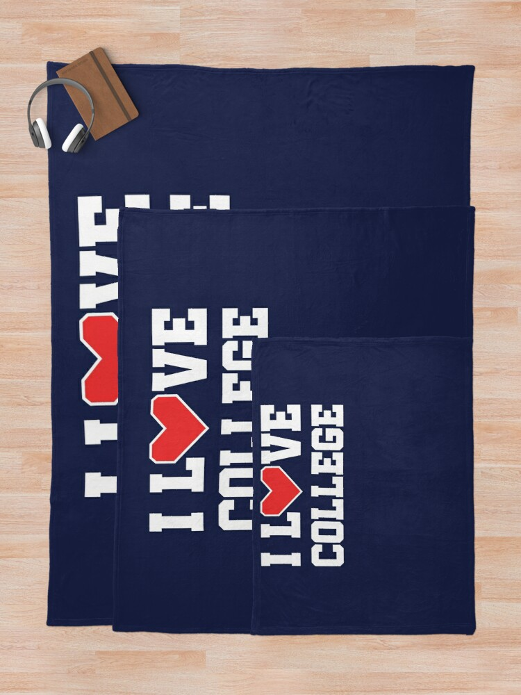 Alternate view of I Love College Throw Blanket